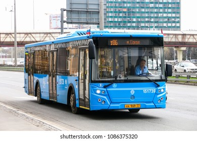 Moscow, Russia - May 2, 2018: Modern city bus LIAZ 5292 in the city street.