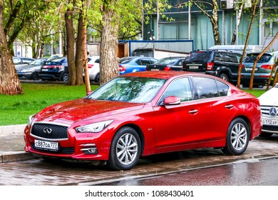 Moscow, Russia - May 2, 2018: Motor car Infiniti Q50 in the city street.