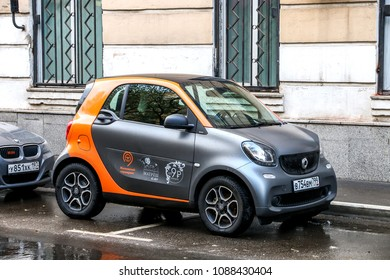 Moscow, Russia - May 2, 2018: MatryoshCar carsharing motor company's Smart Fortwo in the city street.