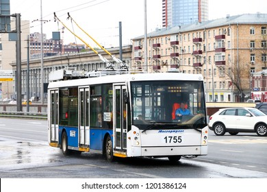 Moscow, Russia - May 2, 2018: Modern trolleybus Trolza 5265 Megapolis in the city street.