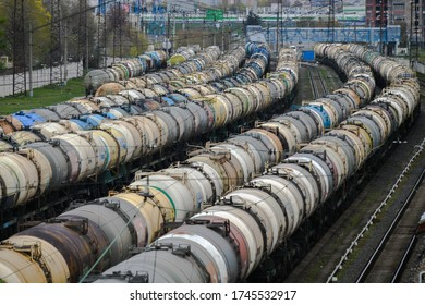 Moscow, Russia. May 2, 2020. Railway tank cars with oil in Moscow, Russia.