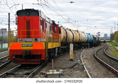 Moscow, Russia. May 2, 2020. Locomotive with oil tank cars in Moscow, Russia.