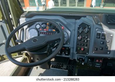 "MOSCOW, RUSSIA - may 20, 2014. The cab interior armored car Ural-4320VV at the exhibition ""Integrated safety and security-2014"", Moscow, the driver's seat"