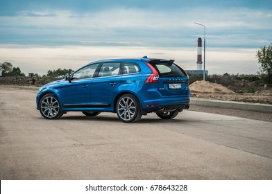 MOSCOW, RUSSIA - MAY 20, 2017 VOLVO XC60 POLESTAR, front-side view. Test of new Volvo XC60 Polestar. This car is AWD compact crossover SUV. T6 engine.