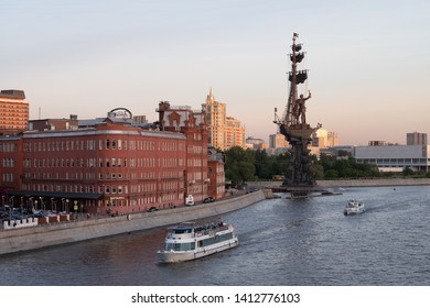 MOSCOW, RUSSIA, MAY 20, 2019 - View on the monunument of  Russian Tsar Peter the Great from the Patriarshy Bridge over the Moscow River - Moscow, Russia