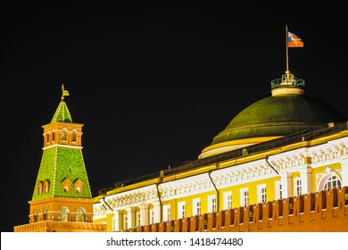 Moscow, Russia - May, 20, 2019: Flag of Russia over the Kremlin which serves as the residence of the Russian power