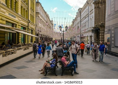 Moscow, Russia - May, 20, 2019: pedestrians on Nikolskaya street in Moscow