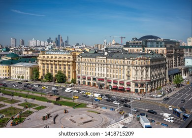 MOSCOW, RUSSIA, MAY 20, 2019 - View on the city of Moscow from the Four Seasons Hotel - Moscow, Russia