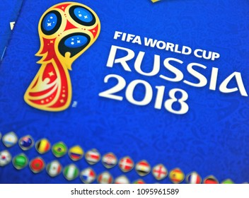 MOSCOW, RUSSIA - MAY 20: Panini FIFA World cup Russia 2018 official stickers albums on May 20, 2018.