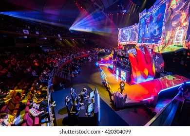 MOSCOW, RUSSIA - MAY 2016: Dota 2 esports event. Main scene and auditorium