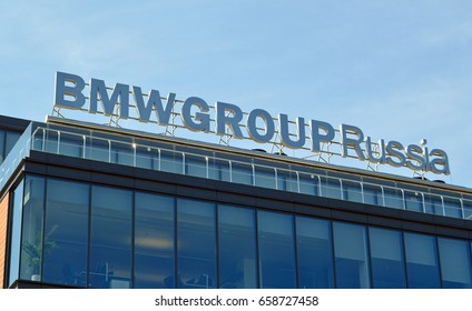 MOSCOW, RUSSIA - MAY, 2017: Signboard of BMW Group Russia on the building of the central office of the company in Moscow