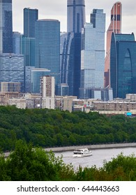 Moscow, Russia, may 2017.  View of the city from the observation platform. Sparrow hills and Moscow city (Moscow International Business Center).
