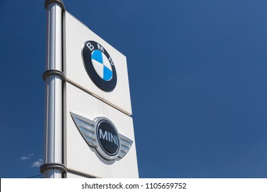 Moscow, Russia - May, 2018: BMW Mini Cooper group car manufacturer signage. Bavarian Motor Works, known as BMW is German luxury vehicles and motorcycles manufacturing company based in Munich, Germany.