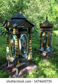 """Moscow, Russia / may, 2018: eco-educational center """"the Tsar's Apiary"""". Deck """"King"""" and """"Queen""""."""