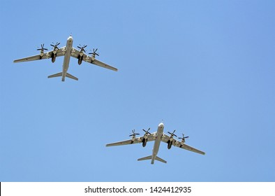 "MOSCOW, RUSSIA - MAY, 2018: Turboprop strategic missile-carrier bombers, aircrafts carrier cruise missiles Tu-95MSM ""Dubna"" with devices for attaching cruise missiles such as X-101"