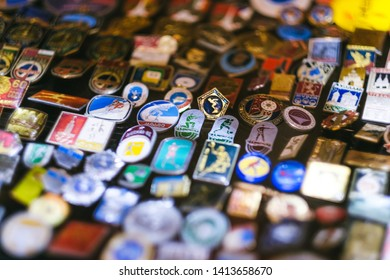 Moscow, Russia - May 2019: Badges ussr (Soviet Union). Set of vintage original badges of Soviet Union selling at the flee market, Metal Badges Russian.