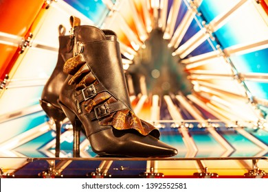 Moscow, Russia - May, 2019: Brown High Leather Boot From New Louis Vuitton Collection With VL Logo. Luxury Store Louis Vuitton In Moscow.
