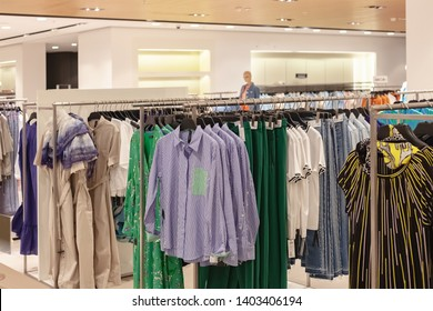 Moscow, Russia - May 2019: Department Clothing Store Flagship Building in Moscow. Clothing Fashion Shop, World's Largest Apparel Retailer. Select Focus And Blurred.