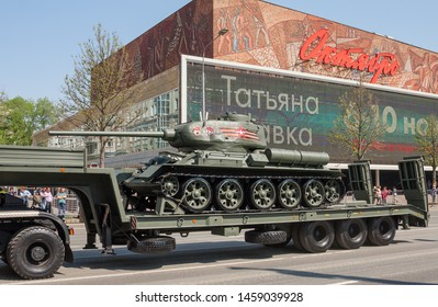 MOSCOW, RUSSIA - MAY 2019: Legendary Soviet tank T-34-85 on   KAMAZ-65225 war trailer. Preparing for military parade in honor of Victory Day.