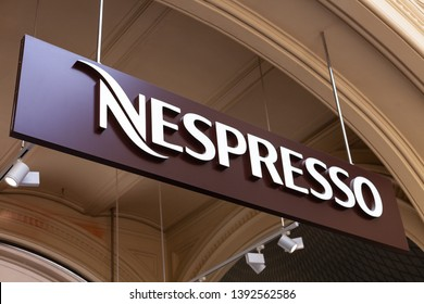 Moscow, Russia - May, 2019: Logo Nespresso Coffee - Capsules For Coffee Machine. Coffee Blend Nespresso - Worldwide Company of Coffee Products.