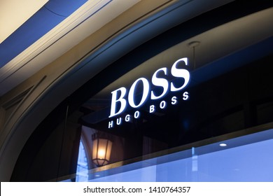 Moscow, Russia - May, 2019: Logo And Sign Or Signboard On Facade Boutique Hugo Boss. Luxury Store Hugo Boss In Moscow.