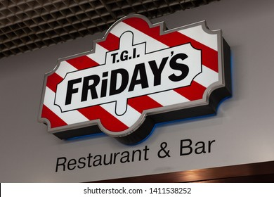 Moscow, Russia - May 2019: Logo Or Sign Of TGI Fridays On Signboard At One Of Their Restaurants. TGI FRIDAY'S Chain Of Famous American Restaurants.