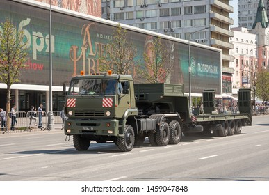 MOSCOW, RUSSIA - MAY 2019: Military trailer KAMAZ-65225. Preparing for   military parade in honor of Victory Day.