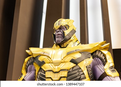 Moscow, Russia - May 2019: Thanos - Character Of Fortnight Game, Comic And Marvel Movie. Thanos Is Villain And Antipode Of Avengers.