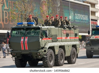 MOSCOW, RUSSIA - MAY 2019: Typhoon K armored combat vehicle (KAMAZ-63968) at rehearsal for Victory Day parade.