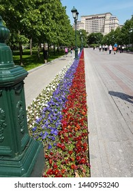 Moscow, Russia - May 20th 2019: The russian flag in flowers in a Russian park near the Kremlin