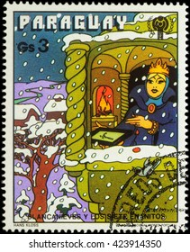 """MOSCOW, RUSSIA - MAY 21, 2016: A stamp printed in Paraguay shows Queen in winter time, series """"International Year of the Child - Grimm's Fairy Tale 'Snow White and the Seven Dwarfs'"""", circa 1978"""