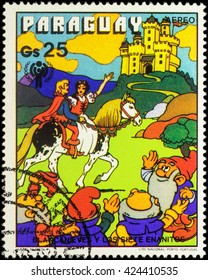 """MOSCOW, RUSSIA - MAY 21, 2016: A stamp printed in Paraguay shows Prince and Snow White, series """"International Year of the Child - Grimm's Fairy Tale 'Snow White and the Seven Dwarfs'"""", circa 1978"""