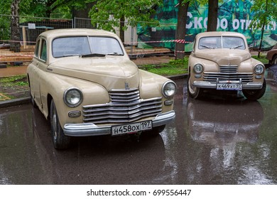 MOSCOW, RUSSIA - MAY 21, 2016. Exhibition of vintage Soviet cars in the park Sokolniki. Moscow, Russia
