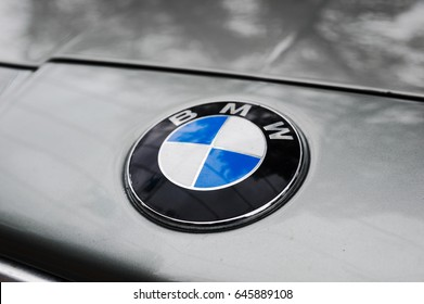 MOSCOW, RUSSIA - May 21, 2017. BMW logo on vintage car