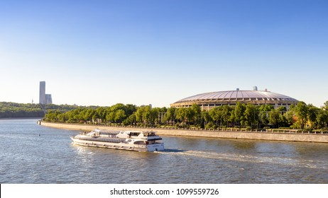 Moscow, Russia - May 21, 2018: Panoramic view of Moscow in summer. Scenic panorama of Moskva River with the Luzhniki Stadium in Moscow. Luzhniki Stadium has been selected for the 2018 FIFA World Cup.