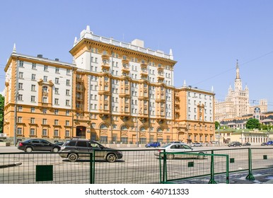 Moscow, Russia - May 22, 2010: The Old building of American Embassy on Novinsky Boulevard