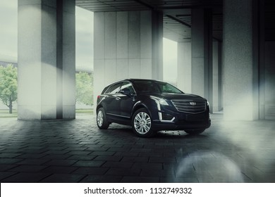 Moscow, Russia - May 22, 2018: Cadillac XT5 car is parked at VDNH territory in Moscow