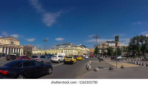 MOSCOW, RUSSIA - MAY 22, 2018: Panoramic view to Bolshoi and Maly Theatre, Central Universal Department Store TsUM and Metropol hotel at Teatralny Proezd street in Moscow on May 22, 2018.
