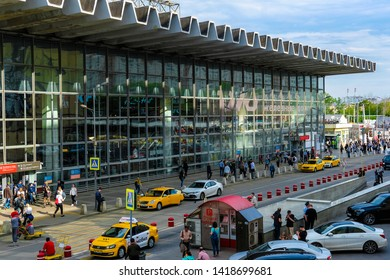 Moscow, Russia - May, 22, 2019: view of Square of Kursk railway station in Moscow, Russia