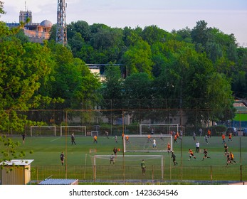 Moscow, Russia - May, 22, 2019: image of football players playing at Torpedo Stadium in Moscow