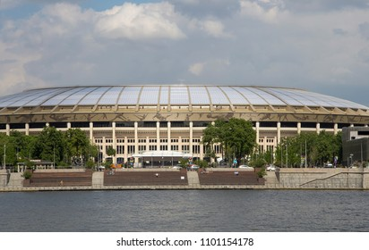MOSCOW, RUSSIA – MAY 23, 2018: Moscow big sports arena (Stadium) Luzhniki Olympic Complex -- Stadium for the 2018 FIFA World Cup in Russia