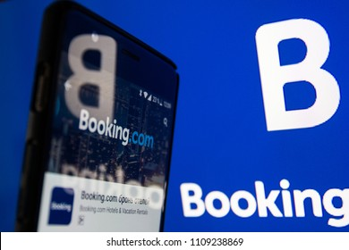 Moscow, Russia - May 23, 2018: Booking.com the system online hotel reservations. Is founded in Amsterdam in 1996.