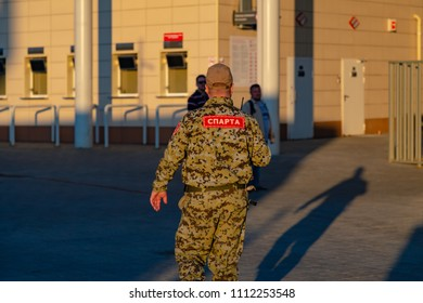 MOSCOW, RUSSIA - May 23, 2018: SPARTA guard in military uniform at the entrance to Opening Arena (Otkritie Arena) which hosts the matches of the FIFA 2018 World Cup Argentina-Iceland and Serbia-Brazil