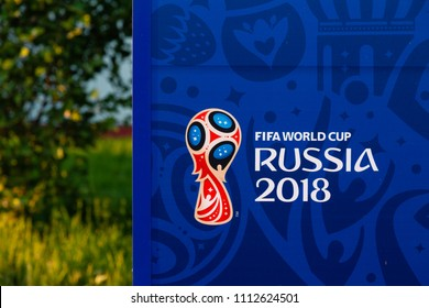 MOSCOW, RUSSIA - May 23, 2018:  Official Russia2018 worldcup logo on pointer near Spartak stadium which hosts matches of FIFA 2018 World Cup Argentina-Iceland (June 16) and Serbia-Brazil (June 27).