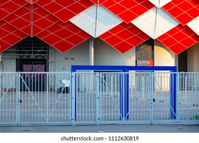MOSCOW, RUSSIA - May 23, 2018: North, East Stand, B and C Area. Exits and entrance of SPARTAK stadium which hosts matches of  FIFA 2018 World Cup Argentina-Iceland and Serbia-Brazil. Worldcup mundiale