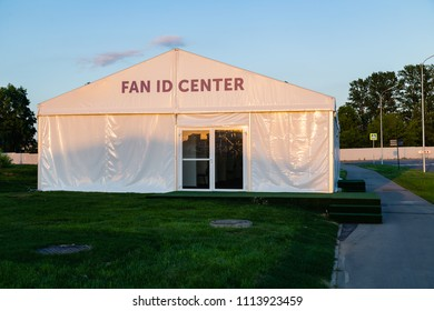 MOSCOW, RUSSIA - May 23, 2018:  Fan id center near Spartak stadium which hosts matches of FIFA 2018 World Cup Argentina-Iceland (June 16) and Serbia-Brazil (June 27). Issuance of worldcup passport id
