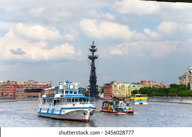 MOSCOW, RUSSIA – MAY 23 2018: Moskow (Moskva) River  and the Peter the Great Statue, Russia. View from tourist pleasure boat. It was designed by the Zurab Tsereteli. erected in 1997