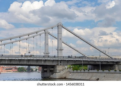 MOSCOW, RUSSIA – MAY 23 2018: Krymsky Bridge or Crimean Bridge, Moskow, Russia (day)