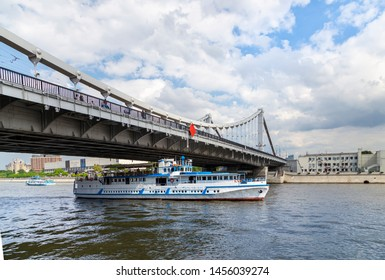 MOSCOW, RUSSIA – MAY 23 2018: Moskow (Moskva) River and Krymsky Bridge or Crimean Bridge, Russia (day)
