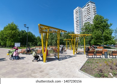 Moscow, Russia -May 23. 2019. Square with benches on Khimki Boulevard